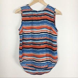 Kenar Orange & Blue Hi-Lo Striped Tank Top XS
